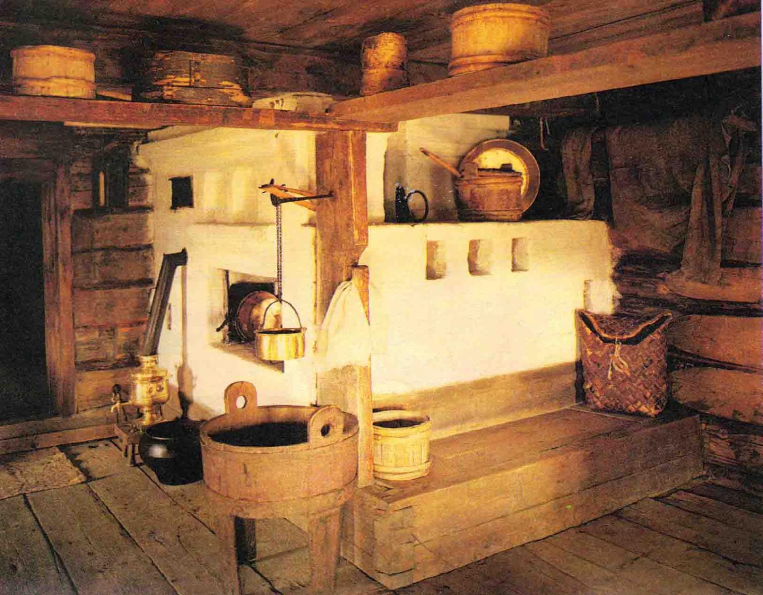 печь русская картинки в старинной избе